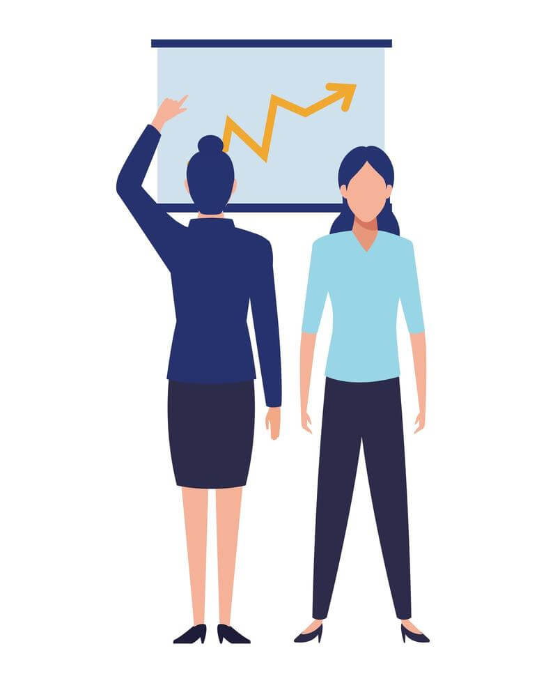 female businesspeople with chart free vector