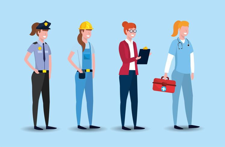 set worker people to labour day celebration vector